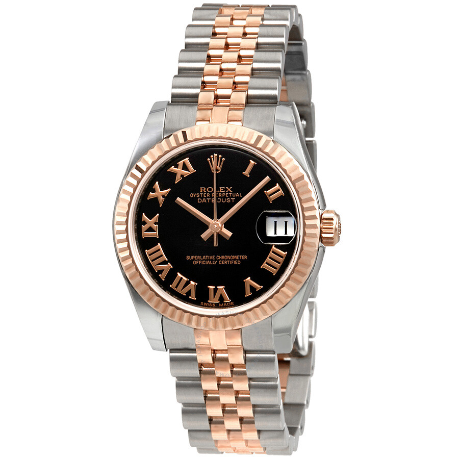 83842c614c4 Rolex Datejust Black Dial Automatic Stainless Steel and 18kt Rose Gold  Ladies Watch 178271BKRJ ...
