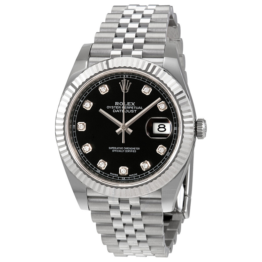Rolex Datejust Black Diamond Dial Automatic Men S Jubilee Watch 126334bkdj