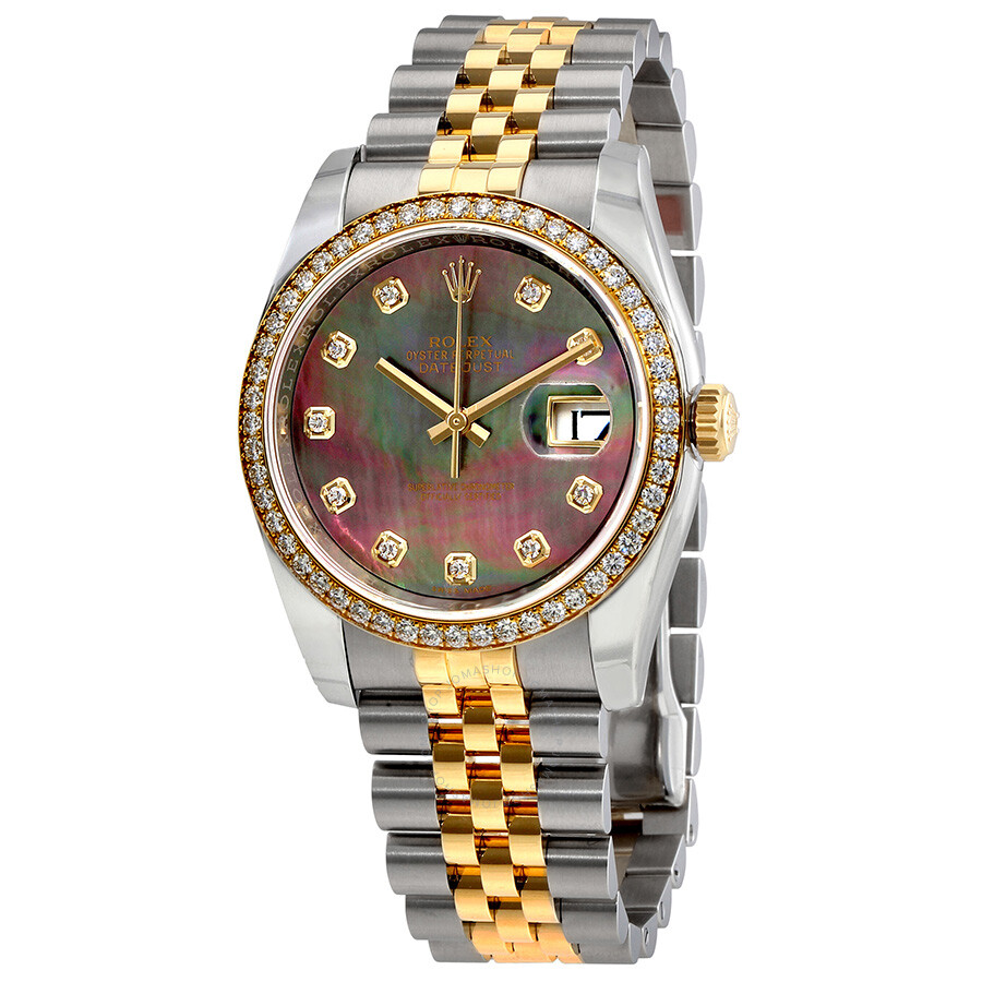 Rolex datejust black mother of pearl dial automatic ladies 18 carat yellow gold and stainless for Pearl watches