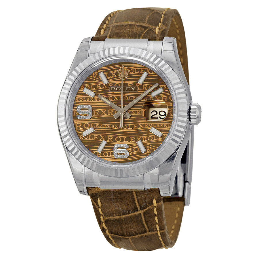 rolex datejust brown jubilee brown dial bronze leather