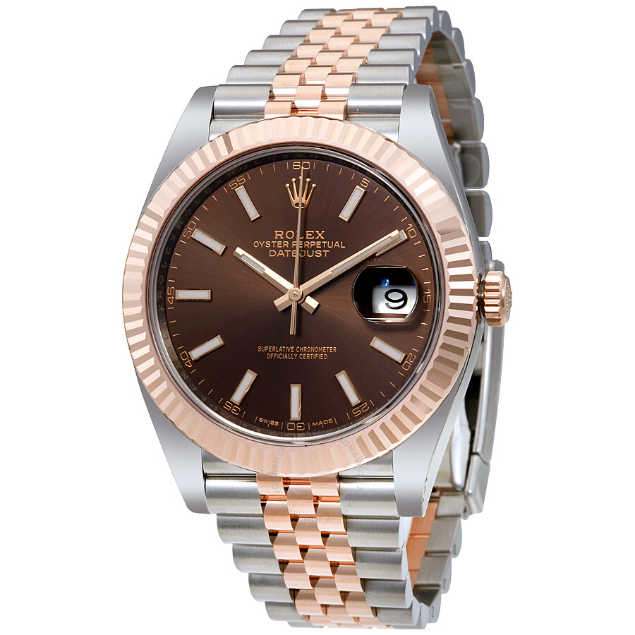 Rolex datejust chocolate dial steel and 18k everose gold jubilee men 39 s watch 126331chsj for Jubilee watch