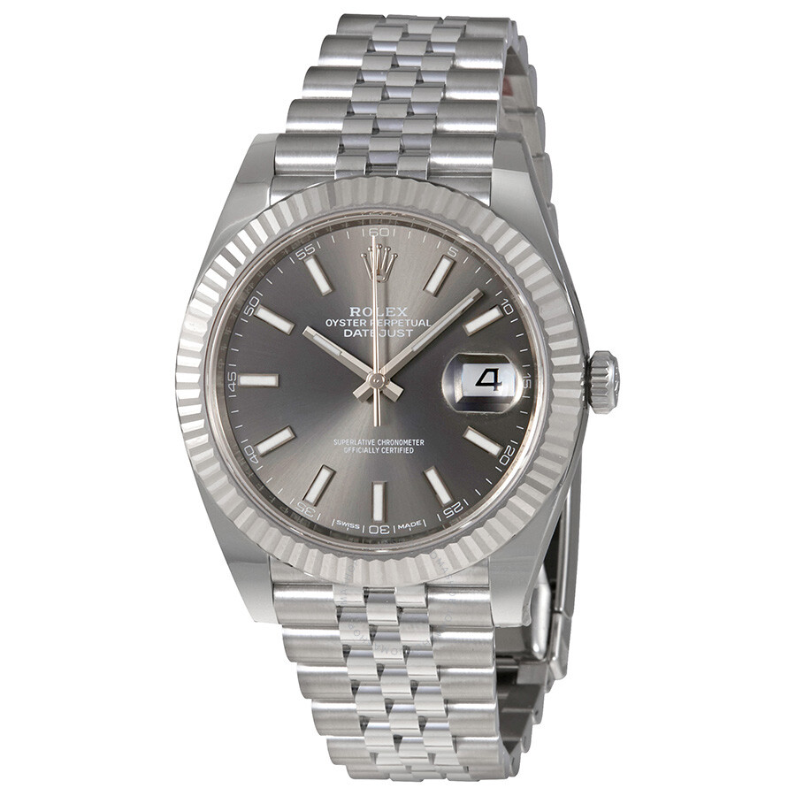 Rolex datejust dark rhodium dial automatic men 39 s jubilee watch 126334rsj datejust rolex for Jubilee watch