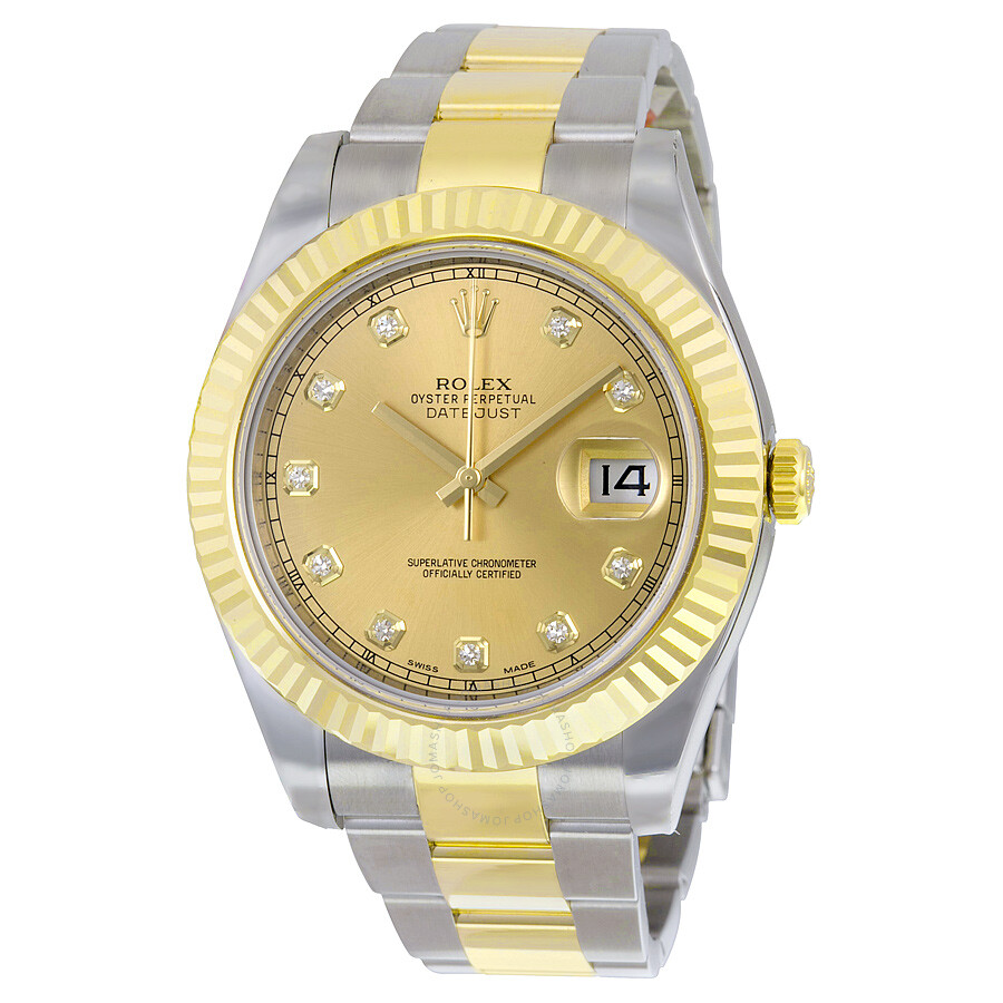 rolex datejust ii chagne automatic stainless steel