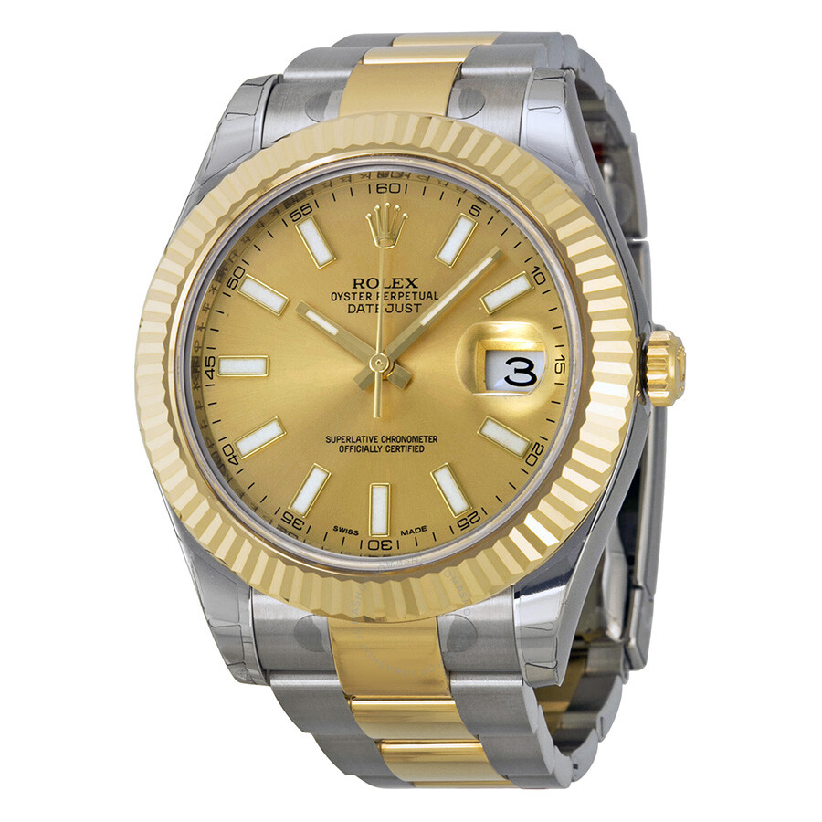 rolex datejust ii chagne stainless steel and 18k