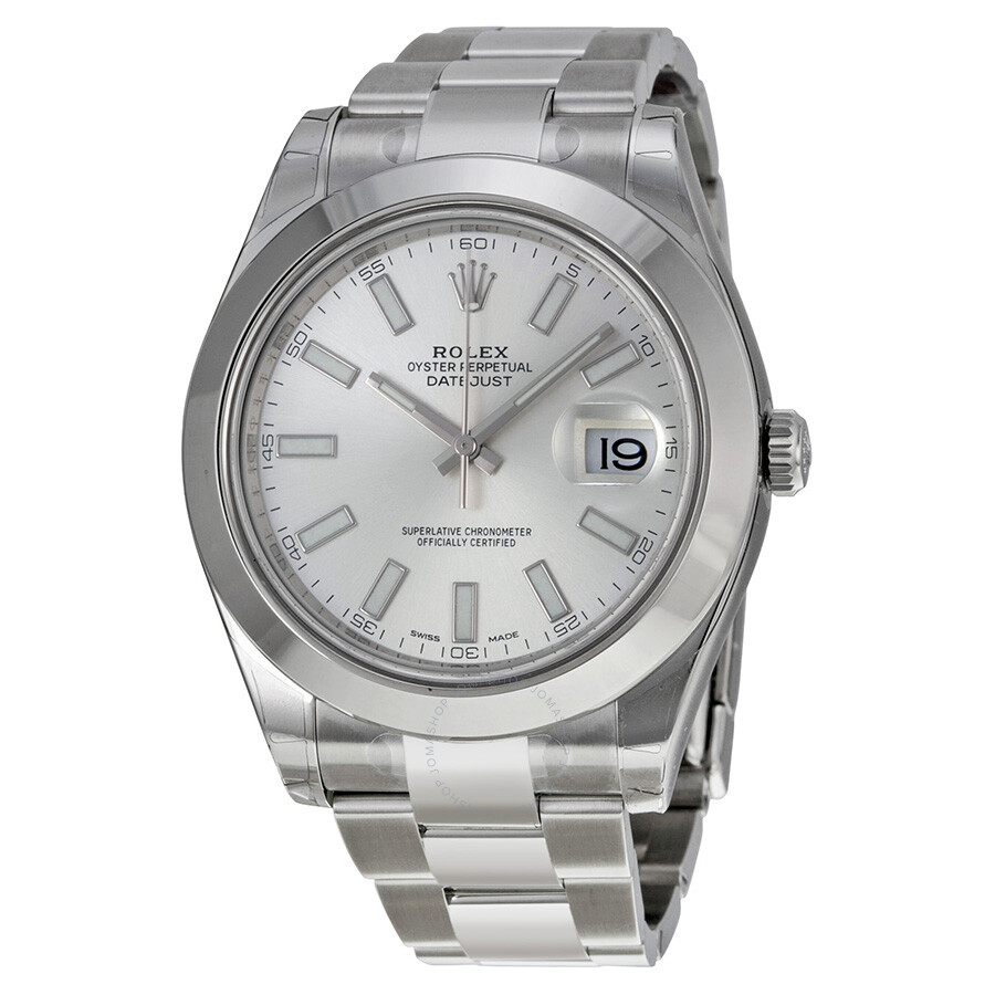 Rolex datejust ii automatic silver dial stainless steel men 39 s watch 116300sso datejust ii for Stainless steel watch