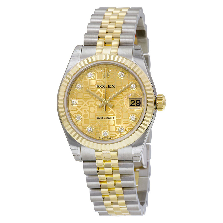 Rolex datejust lady 31 automatic champagne dial stainless steel and 18kt yellow gold jubilee for Jubilee watch