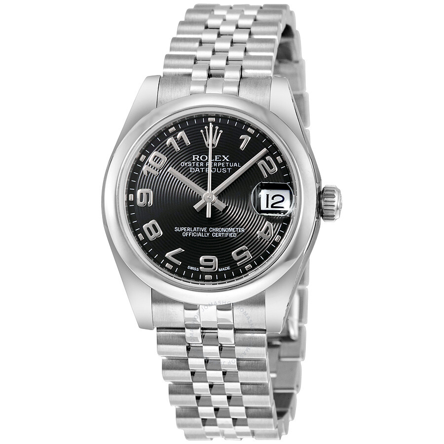 Rolex datejust lady 31 black concentric circle dial stainless steel rolex jubilee automatic for Jubilee watch