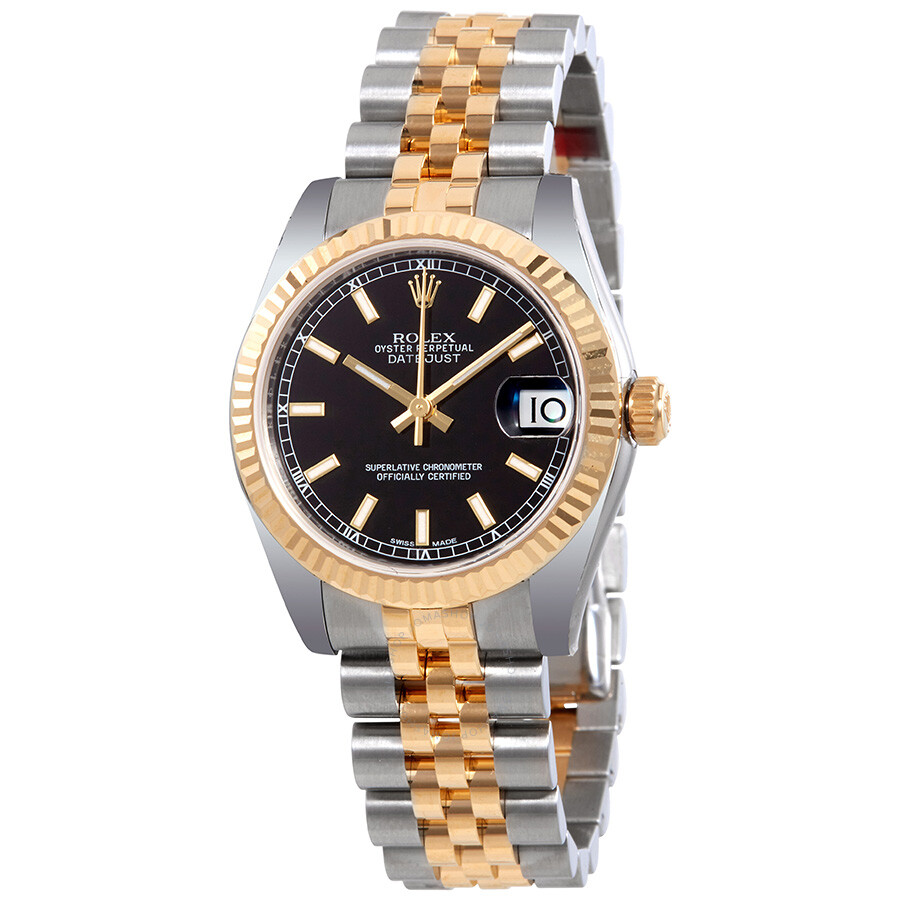 Rolex datejust lady 31 black dial stainless steel and 18k yellow gold rolex jubilee automatic for Jubilee watch