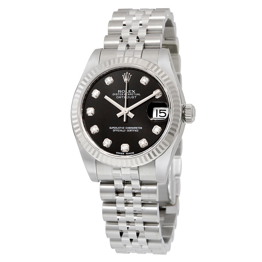 Rolex datejust lady 31 black dial stainless steel rolex jubilee automatic watch 178274bkdj for Rolex date just 31