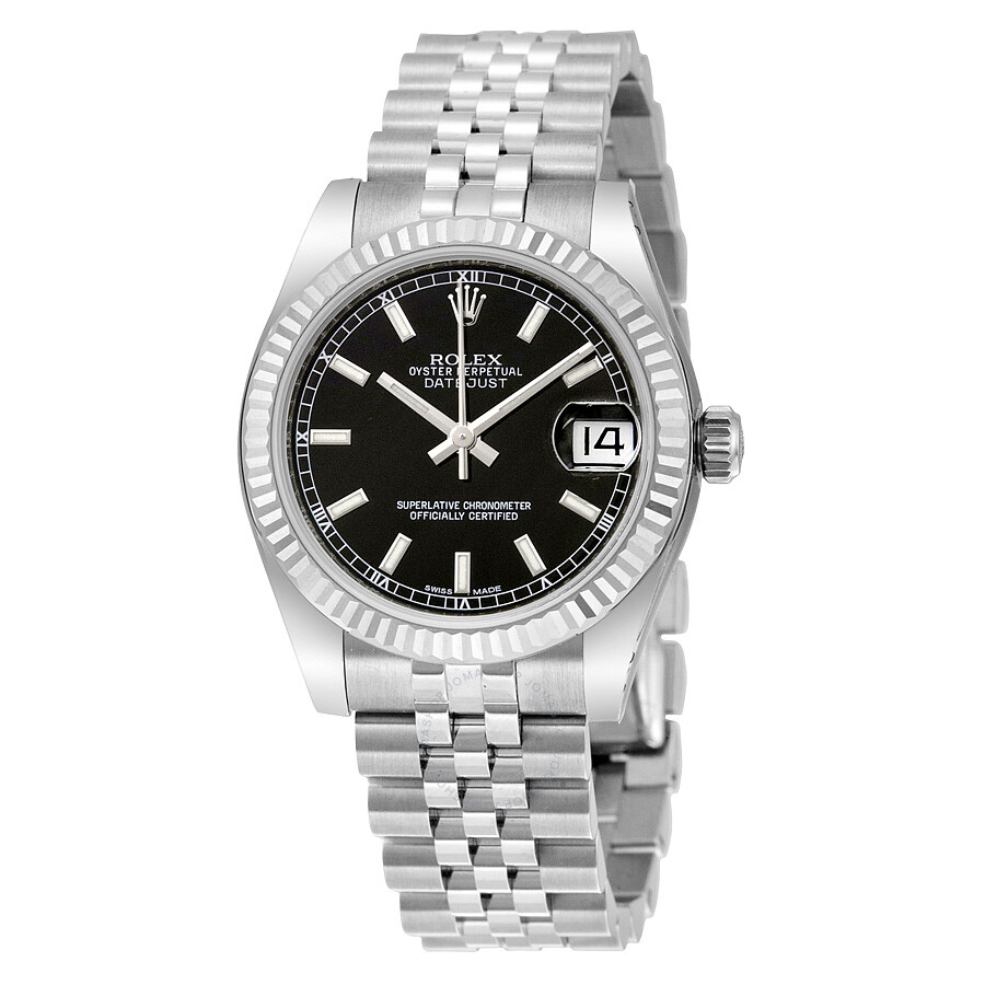 Rolex datejust lady 31 black dial stainless steel jubilee bracelet automatic watch 178274bksj for Rolex date just 31