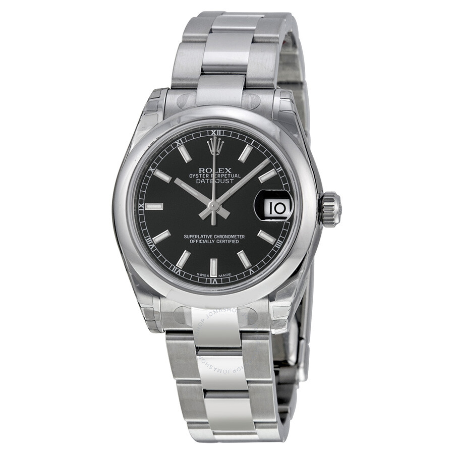 Rolex datejust lady 31 black dial stainless steel oyster bracelet automatic watch 178240bkso for Rolex date just 31