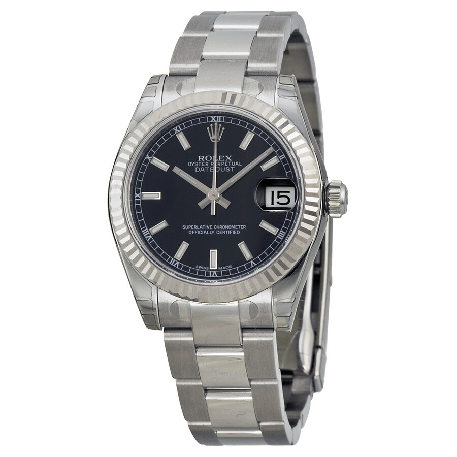 27a03972a1e2 Rolex Datejust Lady 31 Black Dial Stainless Steel Oyster Bracelet Automatic  Watch 178274BKSO ...