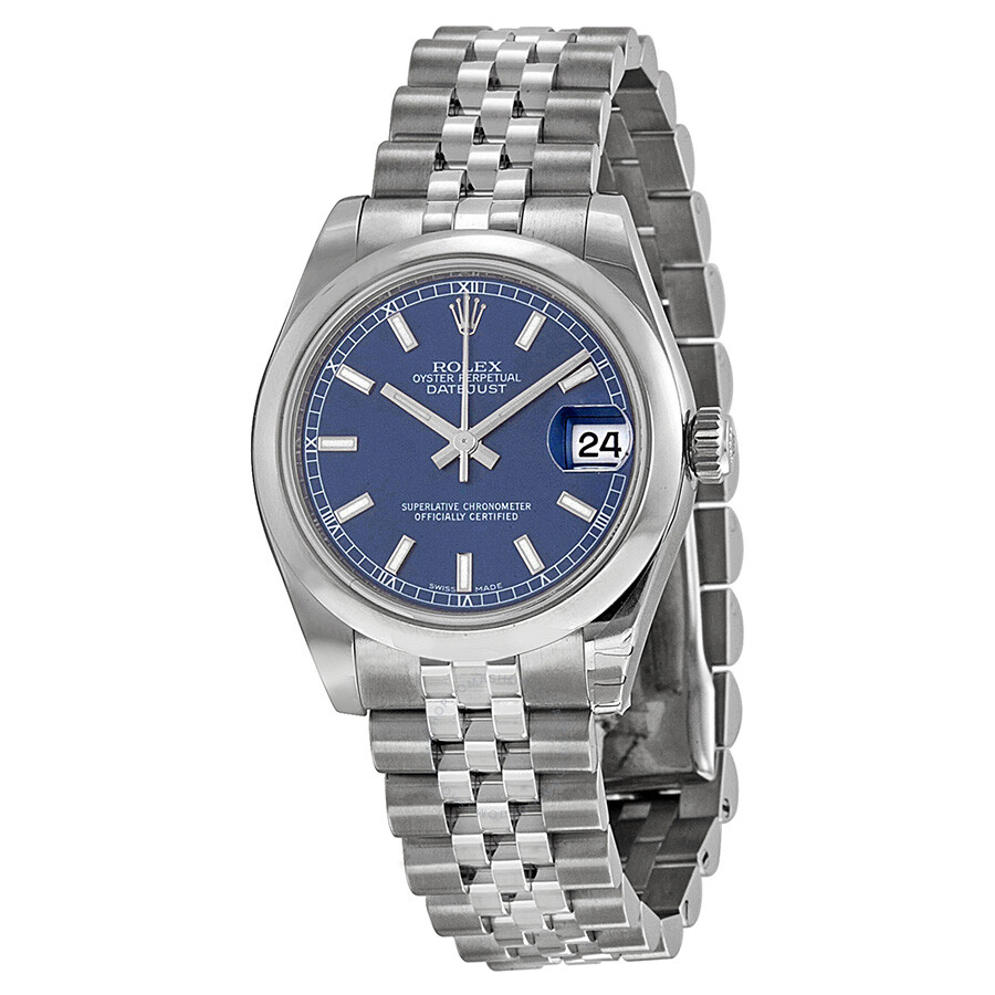 Rolex datejust lady 31 blue dial stainless steel jubilee bracelet automatic watch 178240blsj for Rolex date just 31