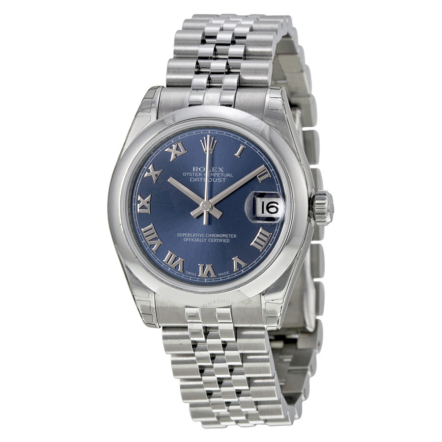 Rolex datejust lady 31 blue dial stainless steel jubilee bracelet automatic watch 178240brj for Rolex date just 31