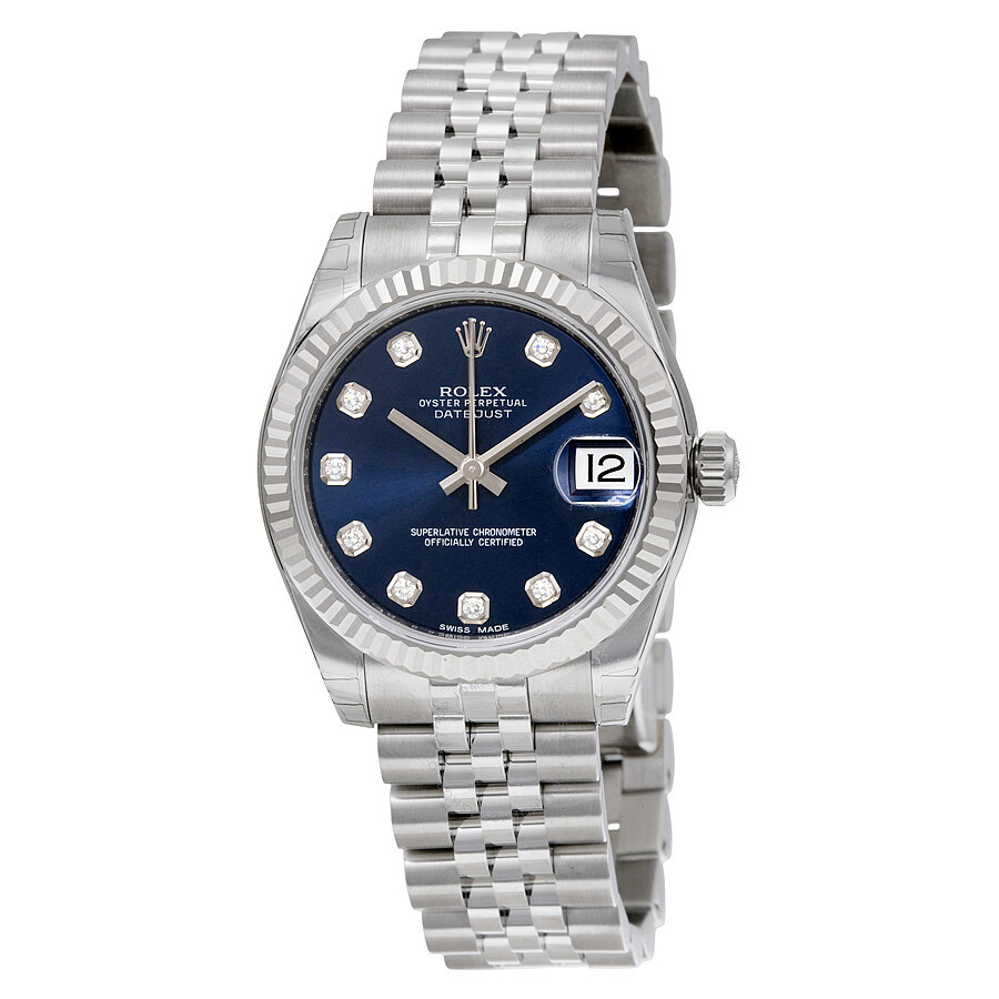 Rolex datejust lady 31 blue dial stainless steel jubilee bracelet automatic watch 178274bldj for Rolex date just 31