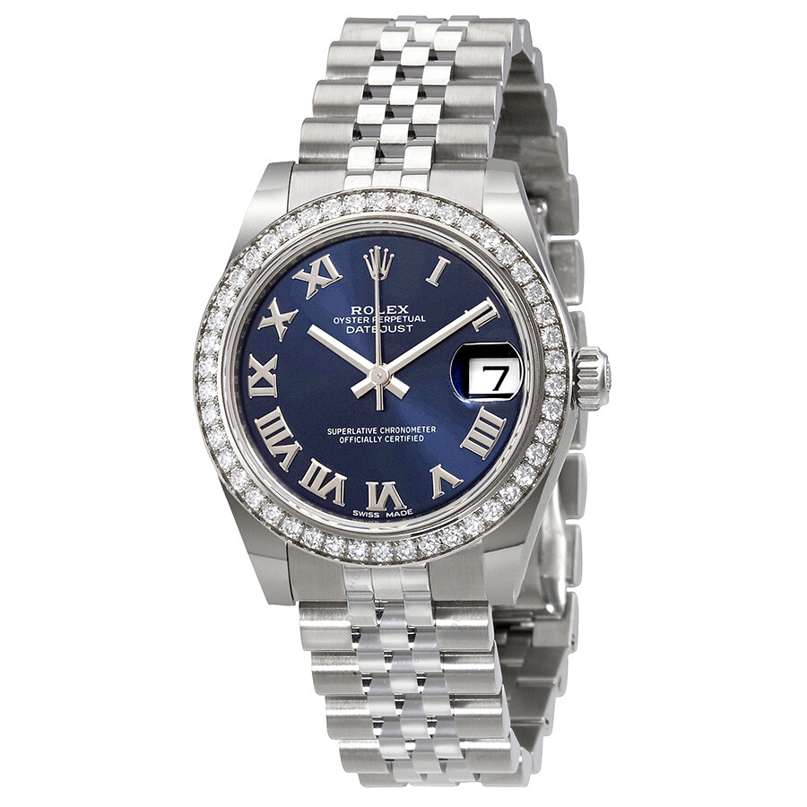 Rolex datejust lady 31 blue dial stainless steel rolex jubilee automatic watch 178384blrj for Rolex date just 31