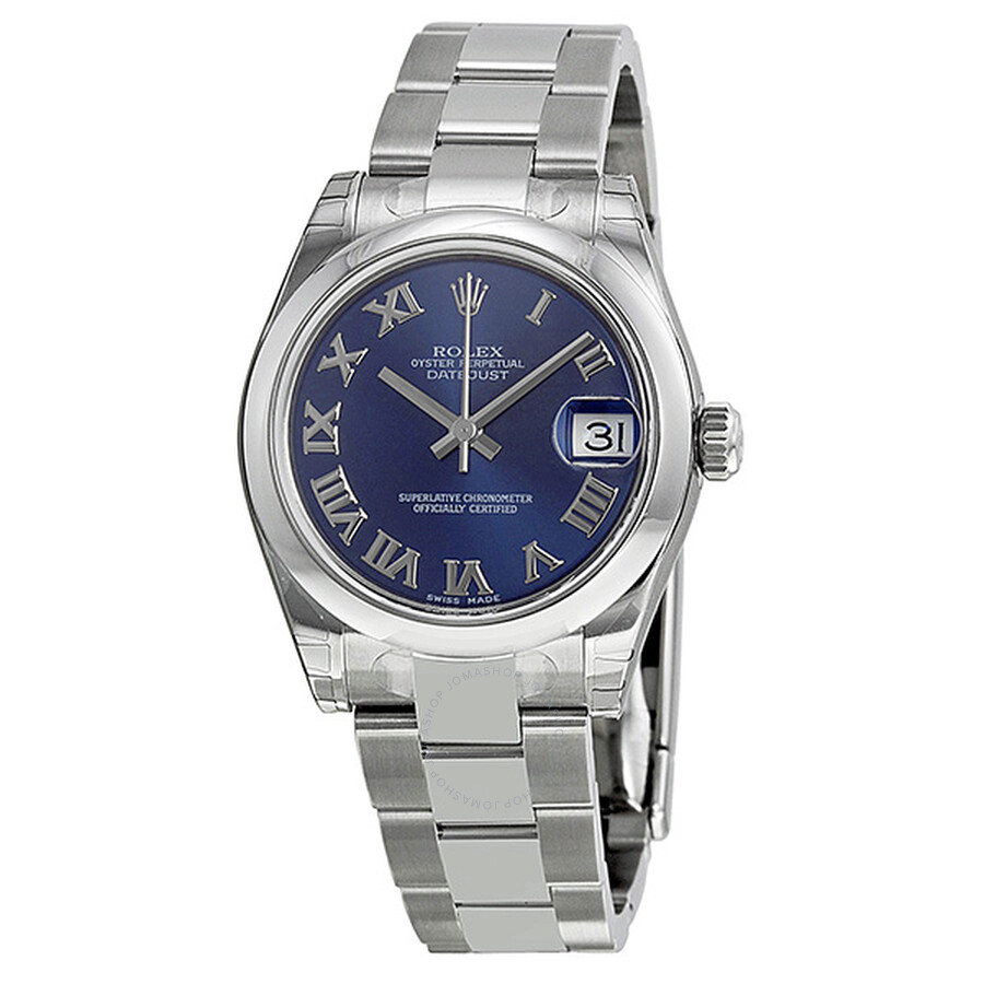 Rolex datejust lady 31 blue roman dial oyster bracelet ladies watch 178240blro datejust lady for Rolex date just 31