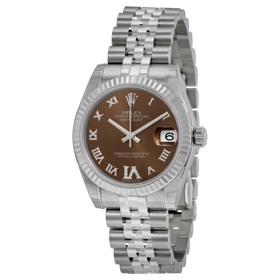 Rolex datejust lady brown dial stainless steel jubilee
