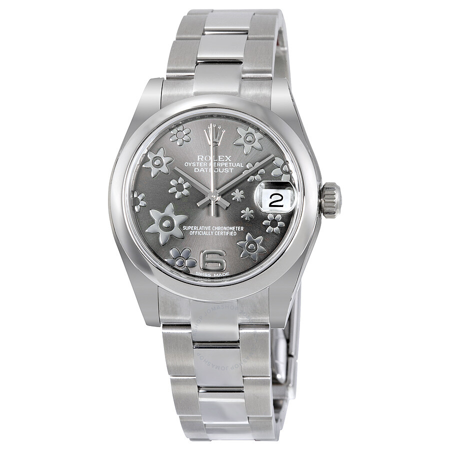 Rolex datejust lady 31 floral rhodium dial stainless steel oyster bracelet automatic watch for Rolex date just 31