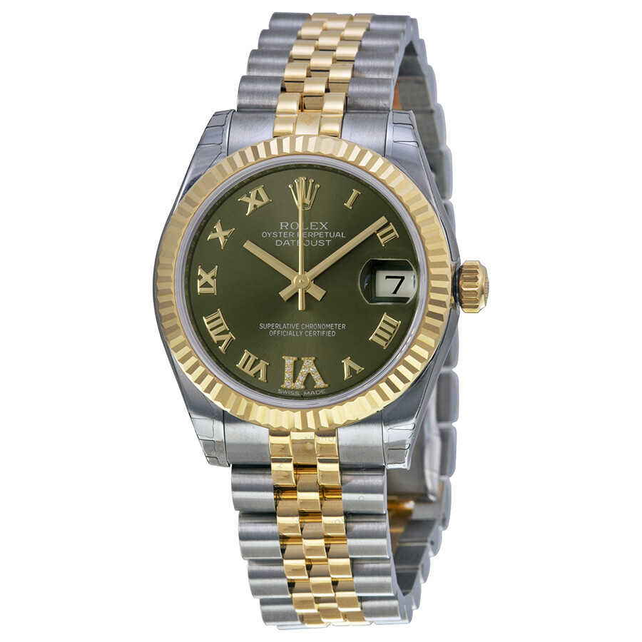 Rolex datejust lady 31 green dial stainless steel and 18k yellow gold rolex jubilee automatic for Jubilee watch