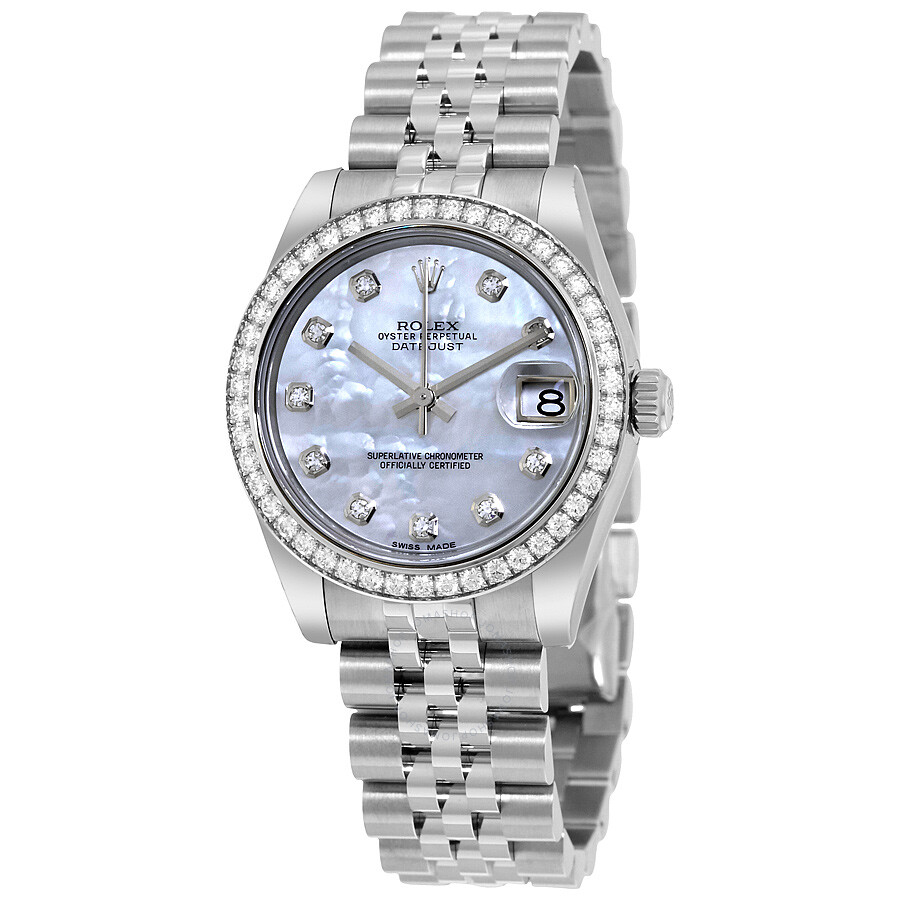 Rolex datejust mother of pearl diamond dial 18kt white gold diamond bezel ladies watch 178384mdj for Mother of pearl dial watch