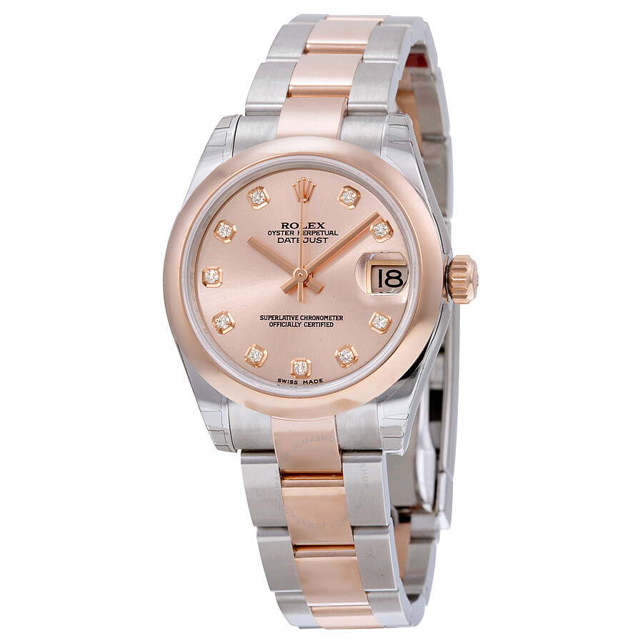 rolex datejust lady 31 pink dial stainless steel and 18k. Black Bedroom Furniture Sets. Home Design Ideas