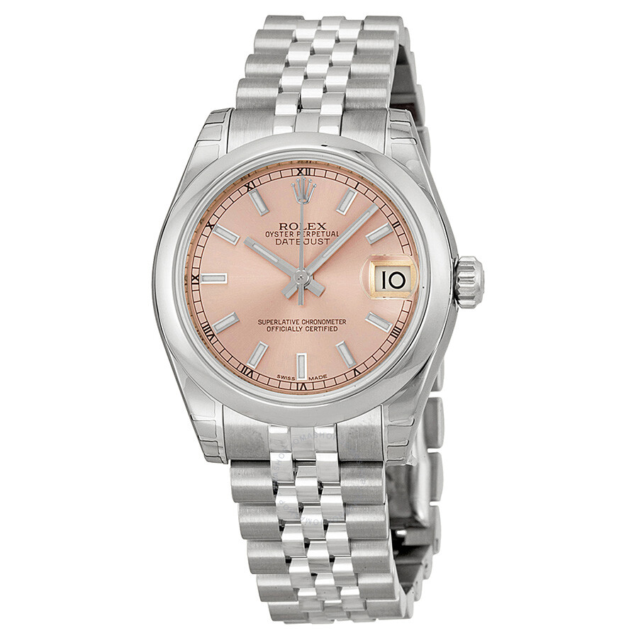 Rolex datejust lady 31 pink dial stainless steel jubilee bracelet automatic watch 178240psj for Rolex date just 31