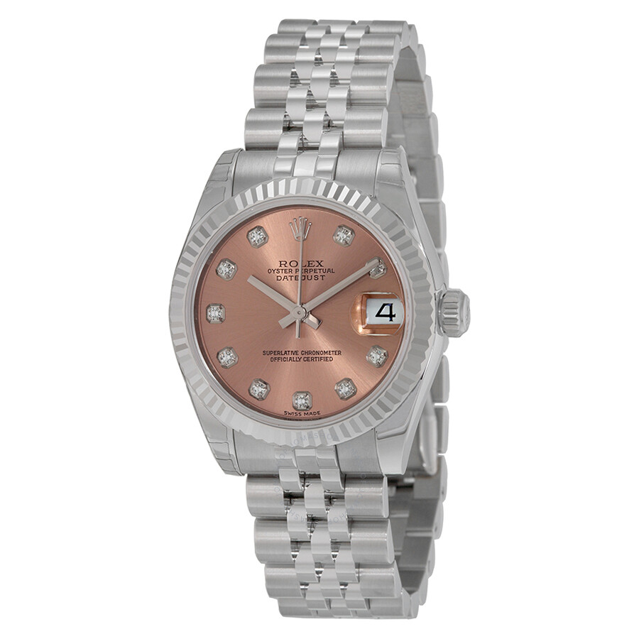 Rolex datejust pink diamond dial jubilee bracelet 18k white gold fluted bezel unisex watch for Jubilee watch