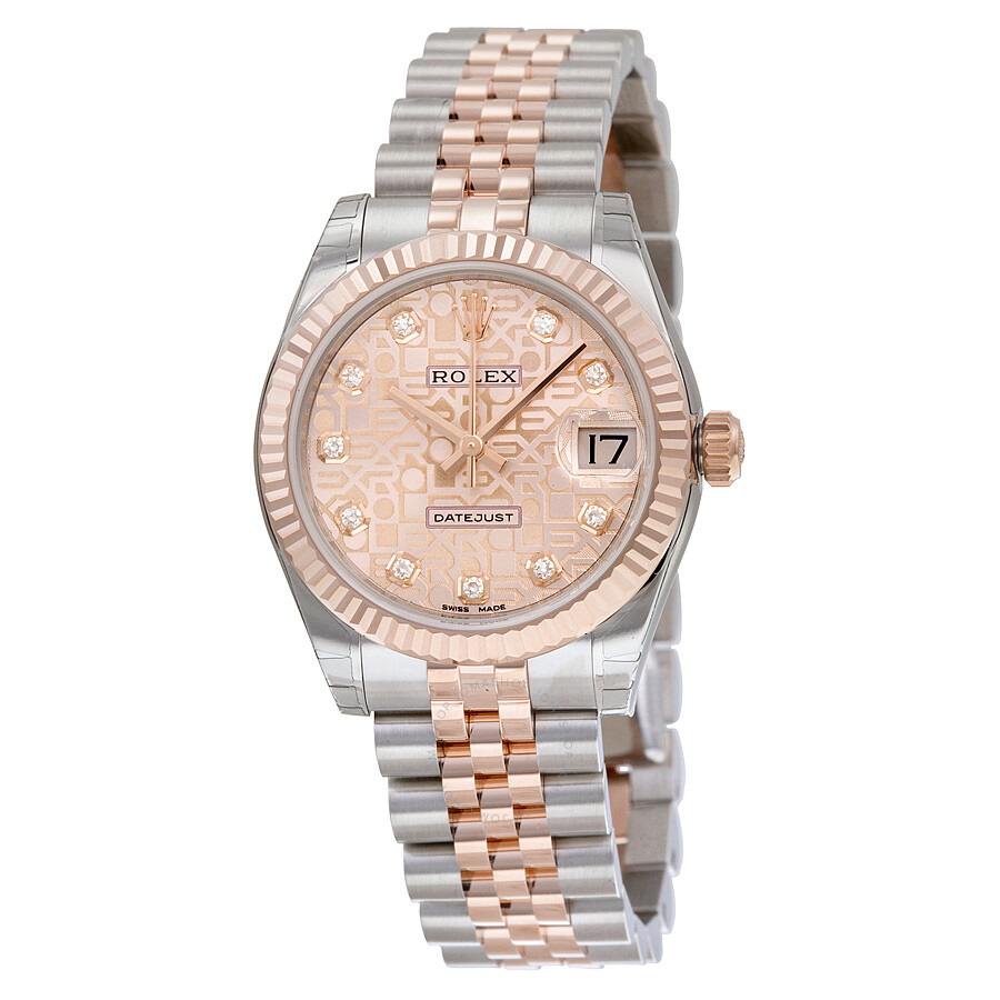 rolex datejust pink jubilee steel and
