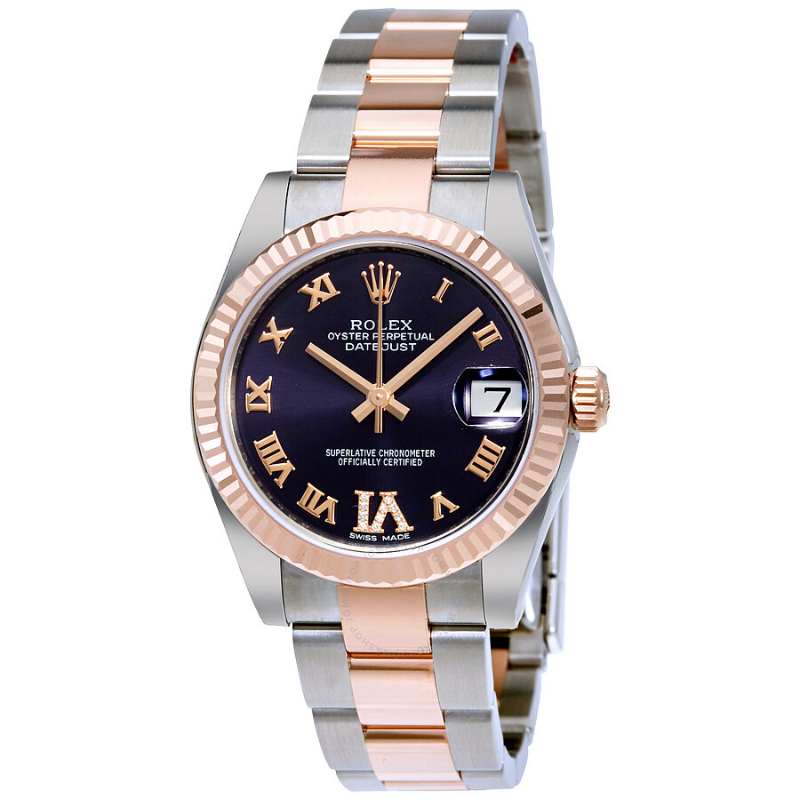 3adcb29d4ce Rolex Datejust Lady 31 Purple Dial Stainless Steel and 18K Everose Gold  Oyster Bracelet Automatic Watch ...