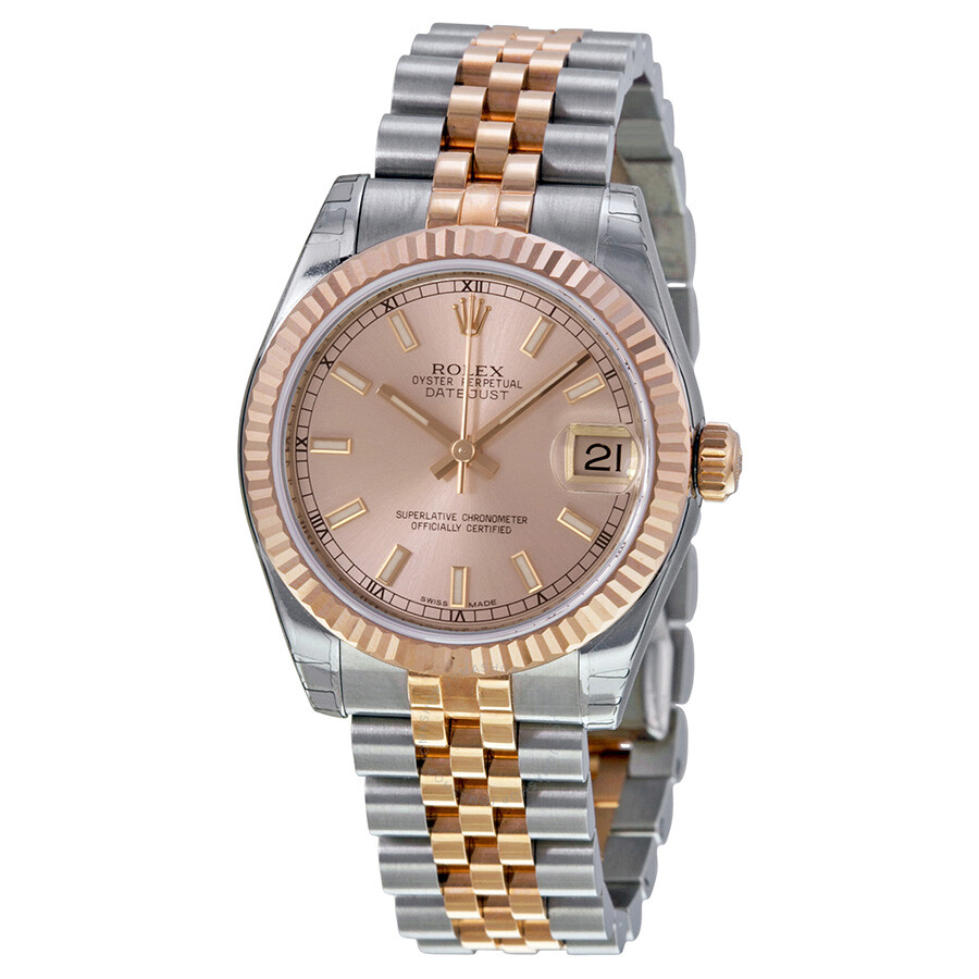 Rolex datejust lady 31 rose gold dial stainless steel and 18k everose gold rolex jubilee for Jubilee watch