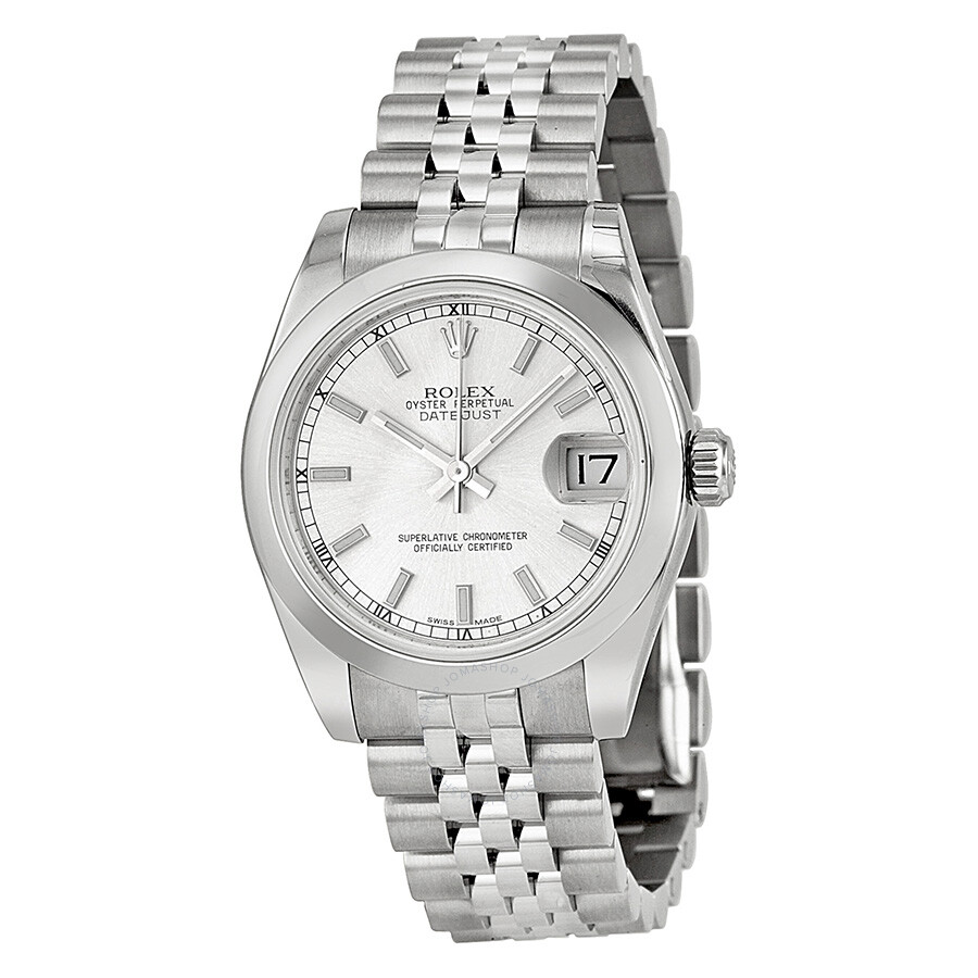 Rolex datejust lady 31 silver dial stainless steel jubilee bracelet automatic watch 178240ssj for Rolex date just 31