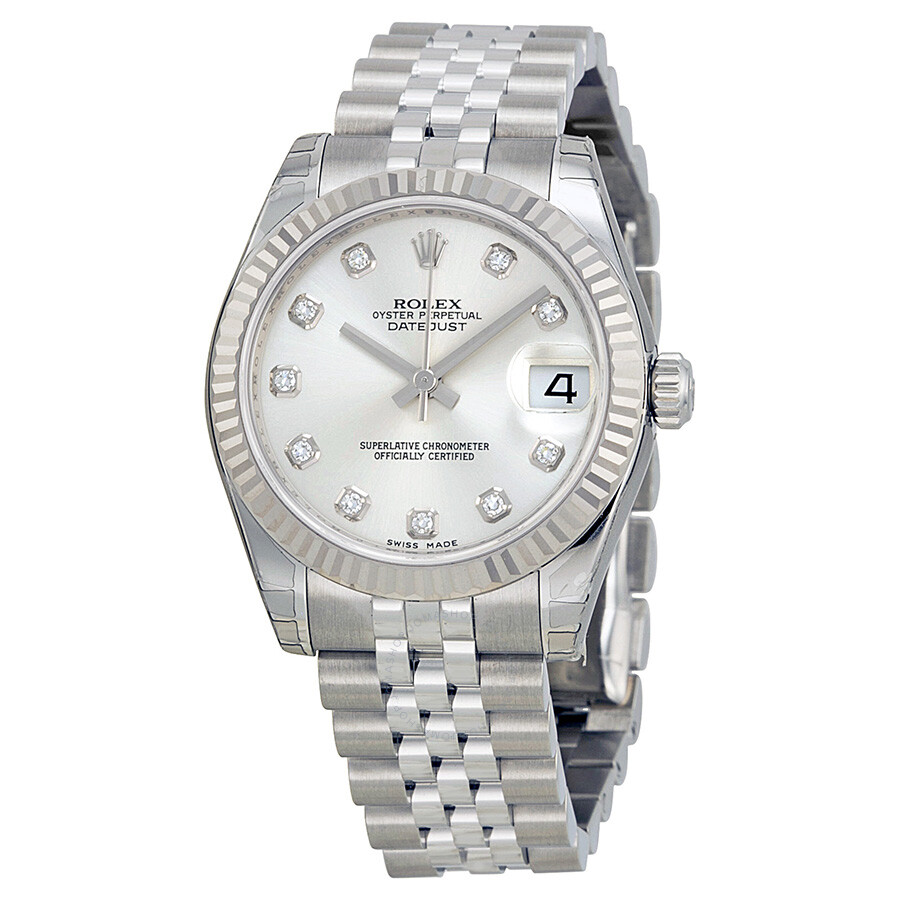 Rolex datejust lady 31 silver with 11 diamonds dial stainless steel jubilee bracelet automatic for Rolex date just 31
