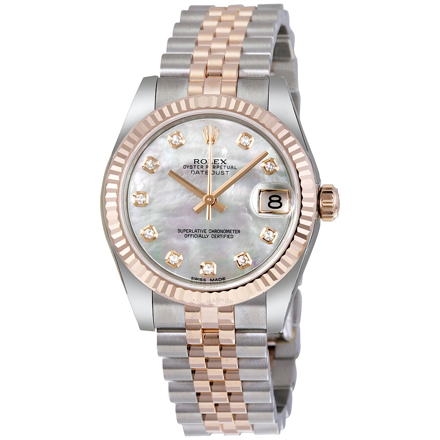 617594ee4e0 Rolex Datejust Lady 31 White Mother of Pearl Dial Stainless Steel and 18K  Everose Gold Jubilee ...