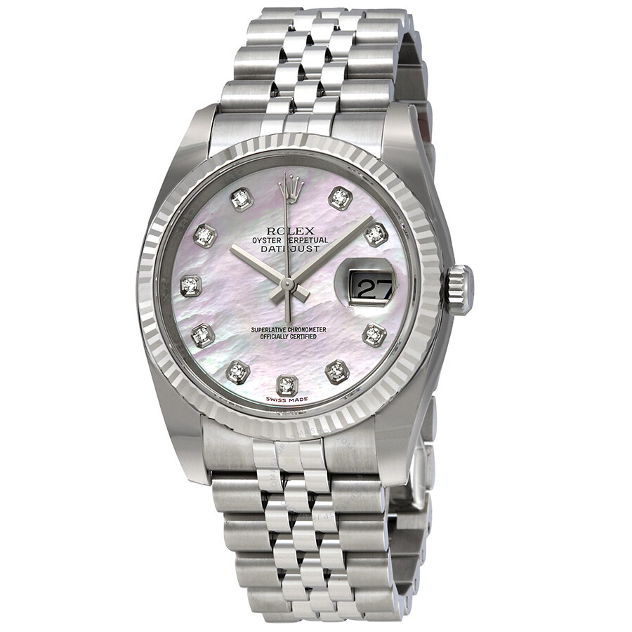 Rolex datejust pink mother of pearl diamond dial steel and 18k white gold ladies watch for Mother of pearl dial watch