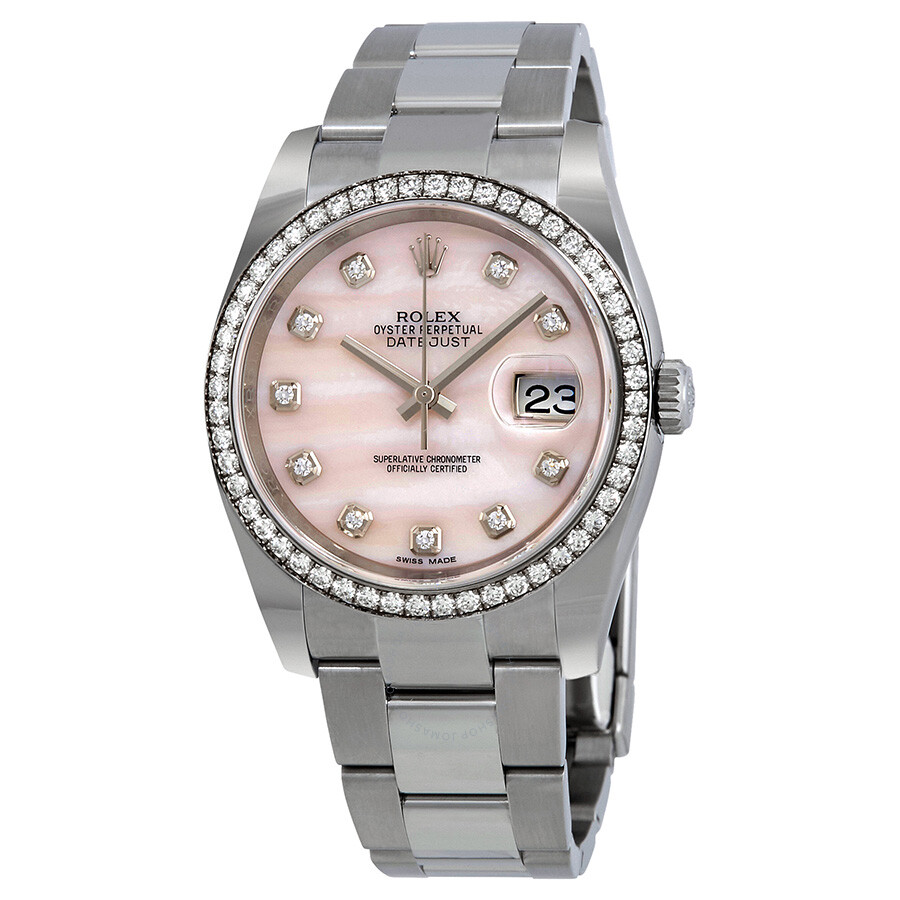 Rolex Datejust Pink Mother of Pearl Diamond Ladies Watch 116244