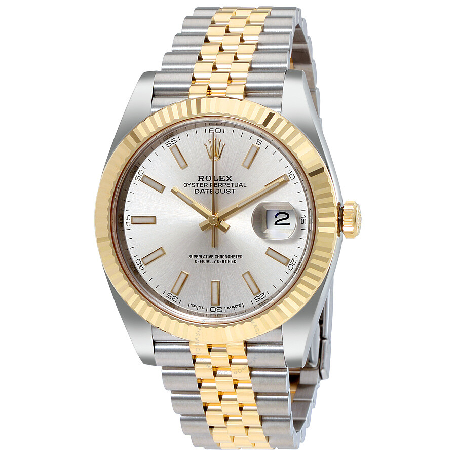 rolex datejust41 silver steel and 18k yellow gold