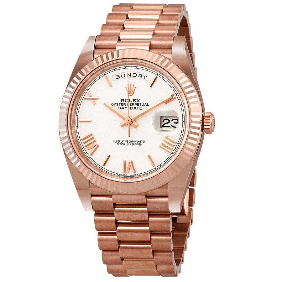 Rolex Day Date White Dial Automatic Mens 18kt Everose Gold President Watch 228235wrp