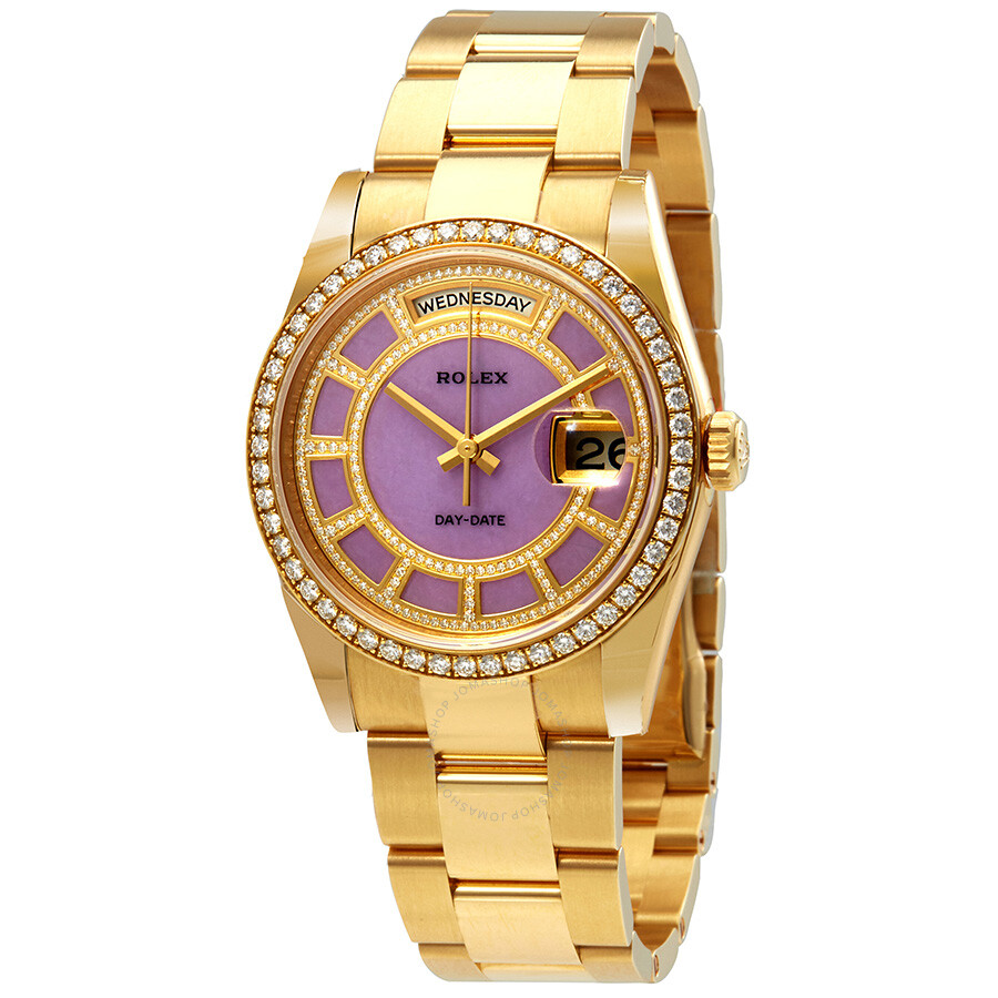 Rolex day date 36 carousel of lavender jade dial ladies 18kt yellow gold oyster watch 118348lvdo for Rolex day date 36