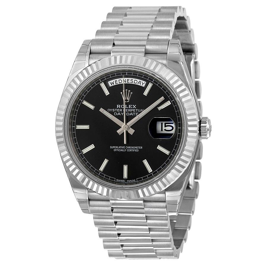 7f23655cb0c Rolex Day-Date 40 Black Dial 18K White Gold President Automatic Men s Watch  BKSP