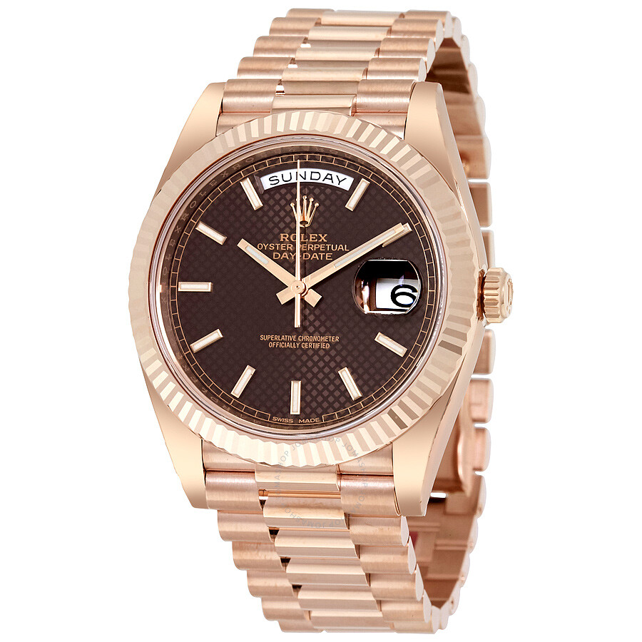 351f53e99e46 Rolex Day-Date 40 Chocolate Dial 18K Everose Gold President Automatic Men s  Watch 228235CHSP ...