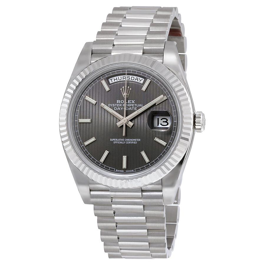 6ed63d32fbf Rolex Day-Date 40 Dark Rhodium Stripe Motif Dial 18K White Gold President  Automatic Men's ...