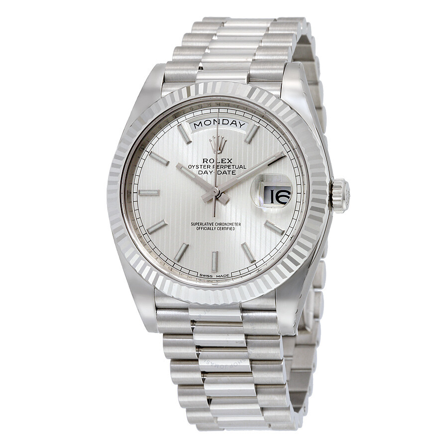 391c9d9818374 Rolex Day-Date 40 Silver Dial 18K White Gold President Automatic Men s  Watch 228239SSP ...