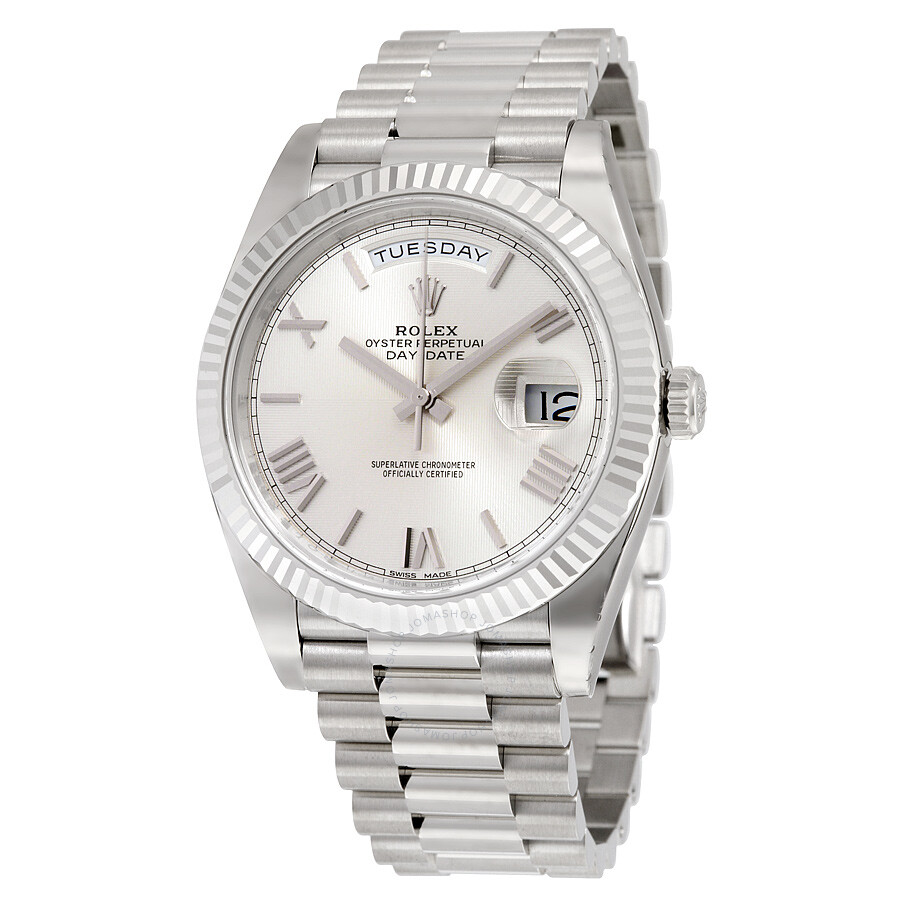 041ea0a331a Rolex Day-Date 40 Silver Quadrant Motif Dial 18K White Gold President  Automatic Men s Watch ...