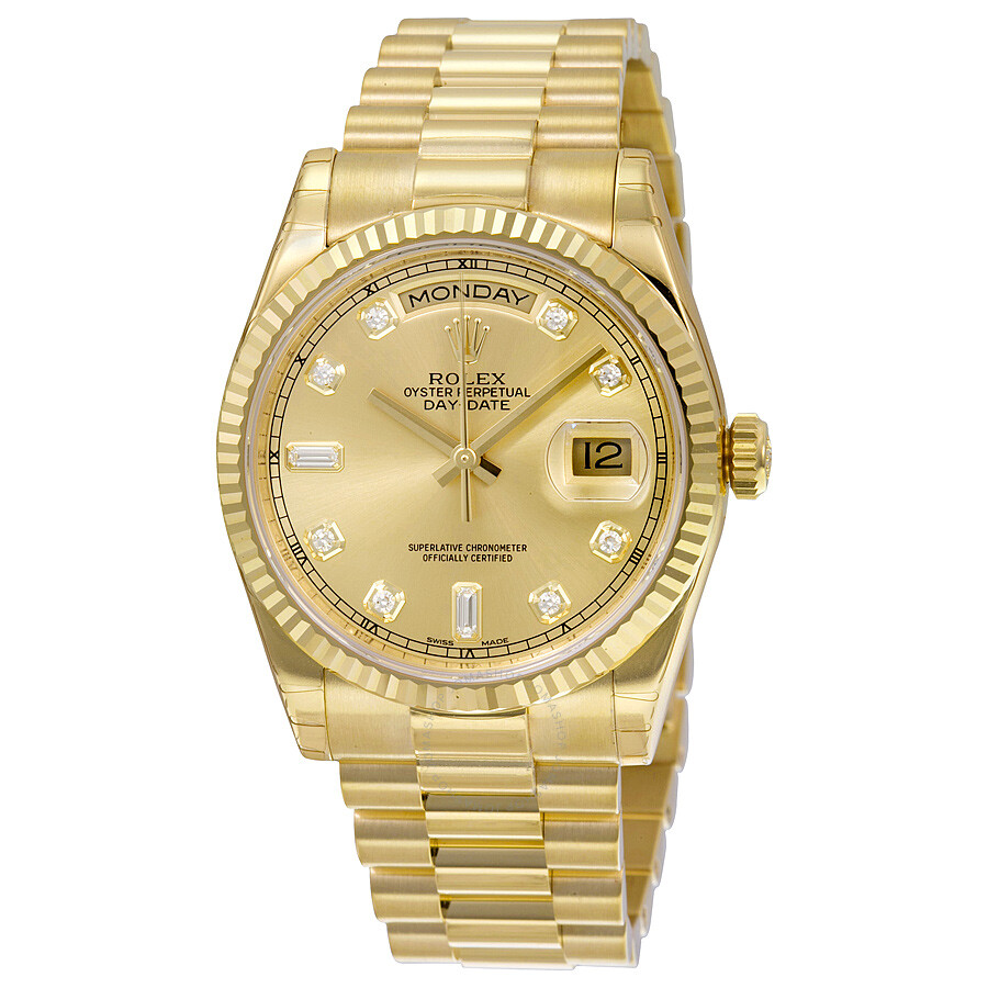 Rolex day date champagne dial 18k yellow gold president automatic men 39 s watch 118238cdp day for Watches gold
