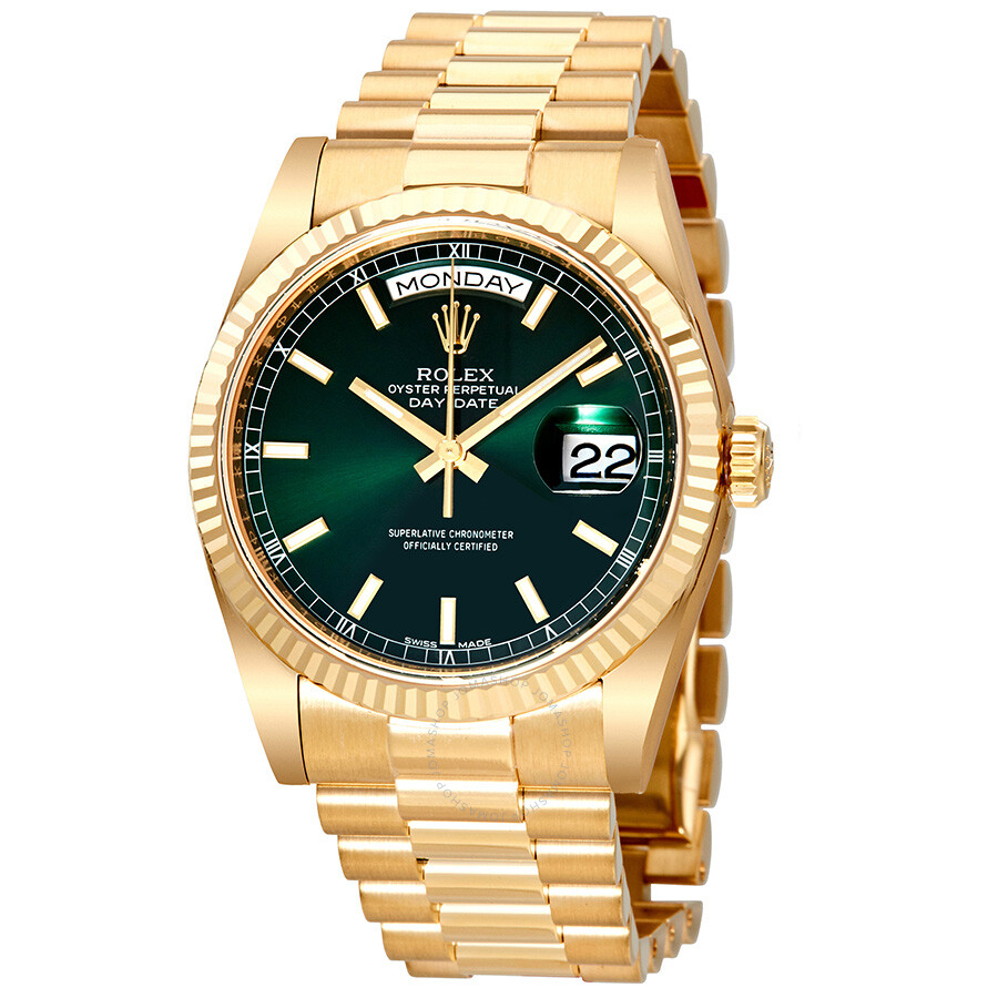 Rolex Day Date Green Dial Automatic 18K Yellow Gold ...