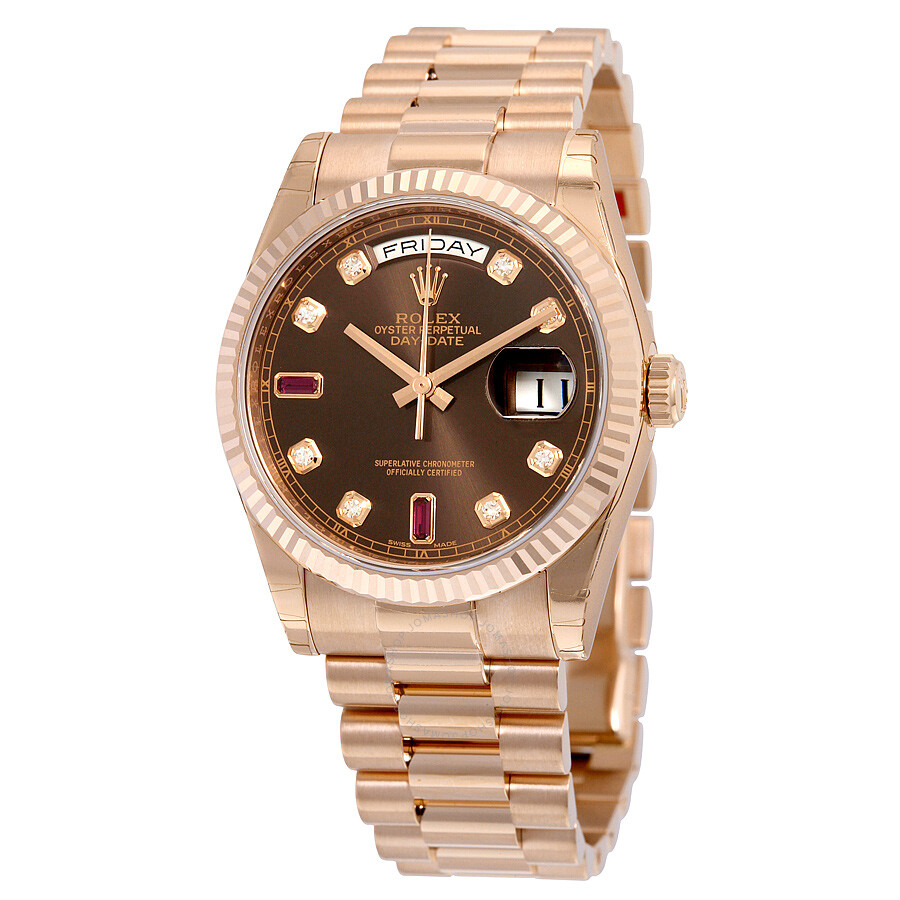 Rolex Day-Date Chocolate Dial 18K Everose Gold President ...