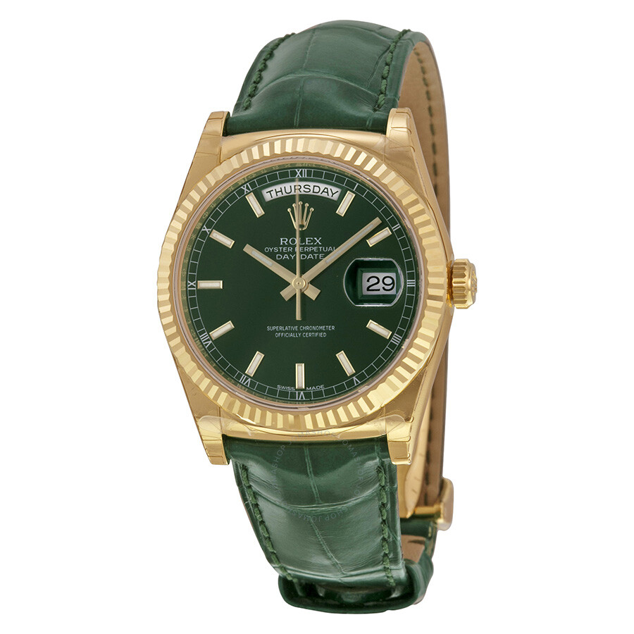 rolex day date green dial 18k yellow gold leather men s watch rolex day date green dial 18k yellow gold leather men s watch 118138gsl