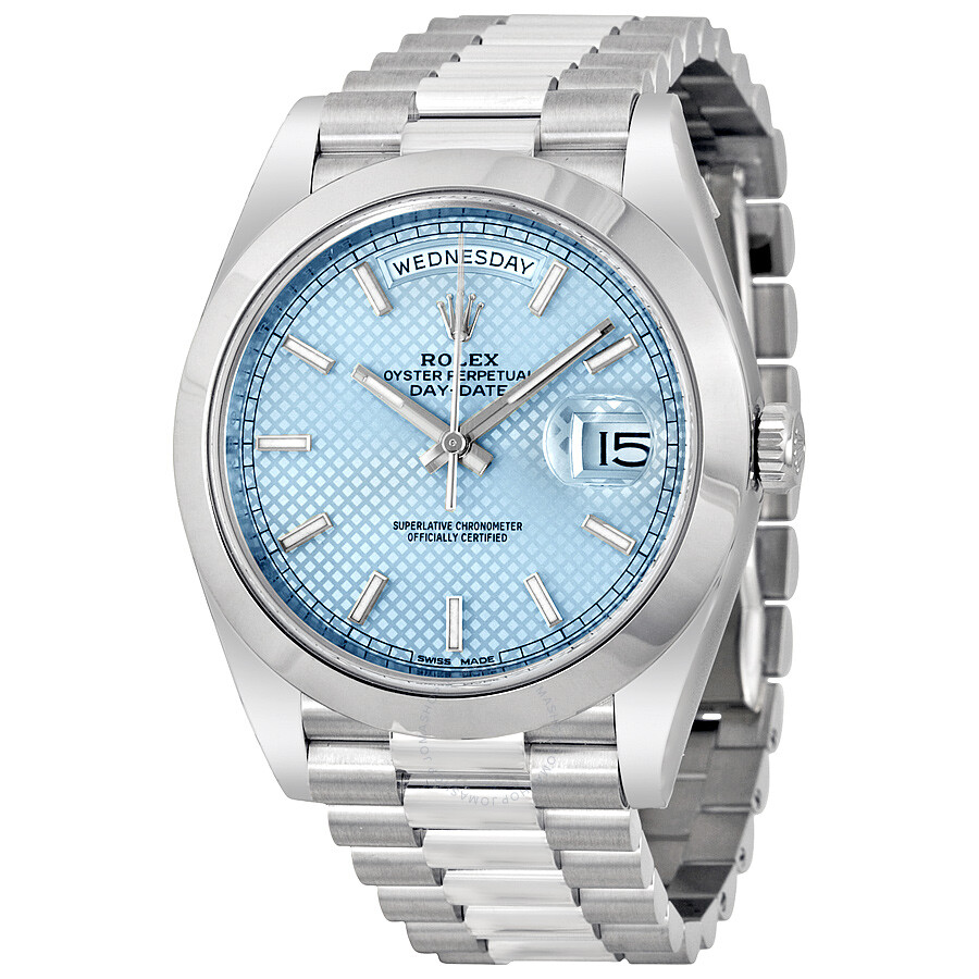 Rolex Day Date 40 Ice Blue Diagonal Motif Dial Platinum