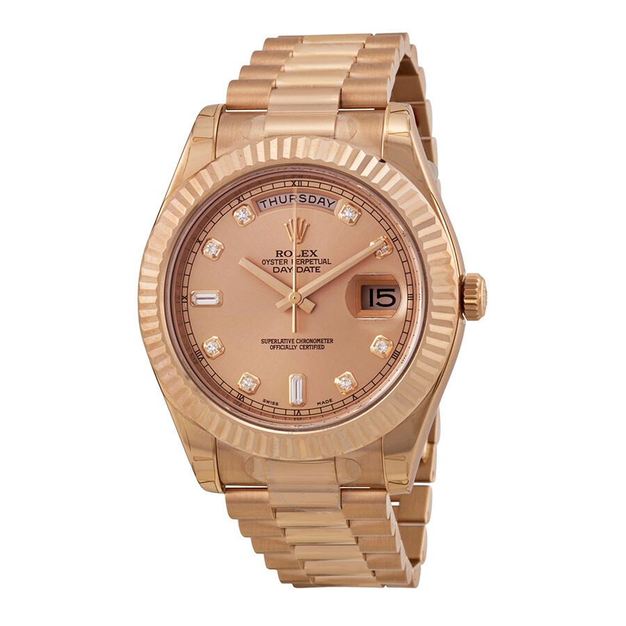 75f7e508112 Rolex Day-Date II Champagne Dial 18K Everose Gold President Automatic Men's  Watch 218235CDP ...